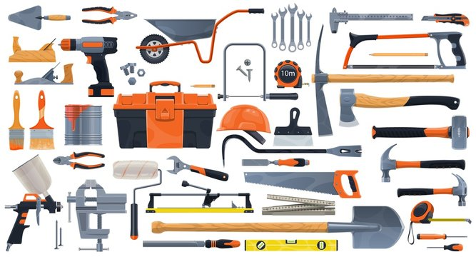 Repair, construction and building vector tools. Toolbox and hammer, screwdriver and drill, spanner, wrench, paint brush and roller, pliers, helmet and trowel, screw and hacksaw, planer, tile cutter
