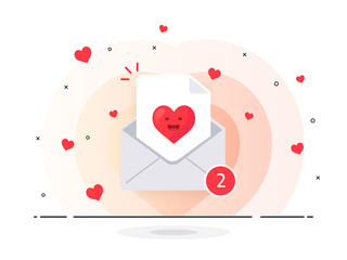 The love letter in mail envelope. White mail envelope with red marker One Message. Trendy flat vector illustration.