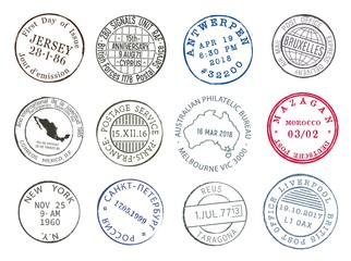 Post mail delivery stamp contours with city and dates, vector icons. Airmail postage and post office delivery stamps of New York, Paris or Mexico and Antwerp, Melbourne, Brussels and Russia