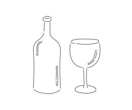 ビンとワイングラスのシンプルなイラスト