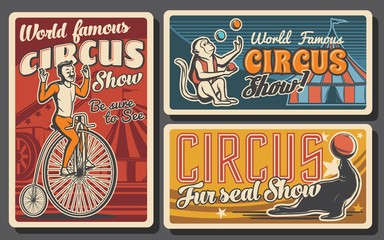 Circus or carnival top tent show retro banners. Vector acrobat riding vintage bicycle, trained animals and rocket man cannon, monkey and seal juggling balls on arena of chapiteau marquee