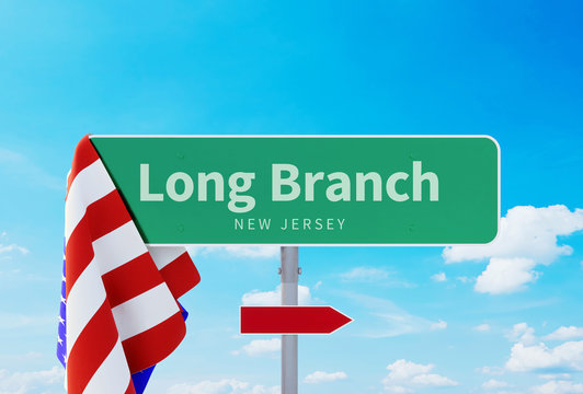 Long Branch – New Jersey. Road or Town Sign. Flag of the united states. Blue Sky. Red arrow shows the direction in the city. 3d rendering