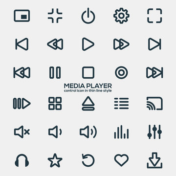 Media player icons in thin line style