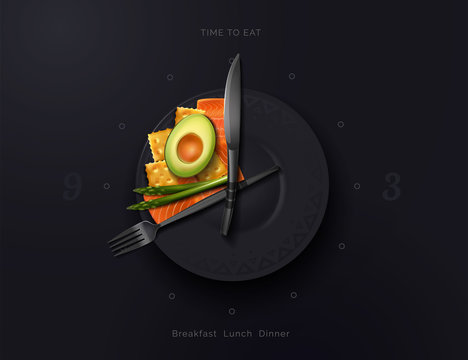 A plate is a watch with a variety of food on it. Meal time. Food Interval. Proper nutrition. Modern vector illustration top view.