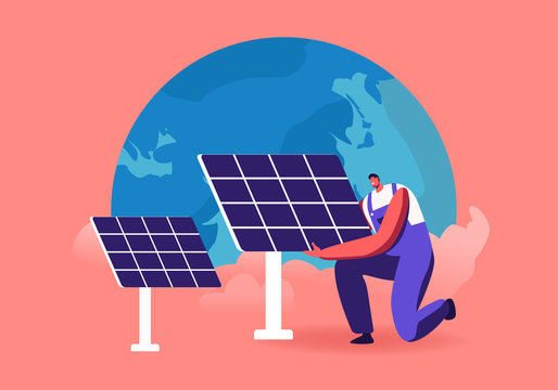 Green Energy, Global Warming and Environment Problems Concept. Man Set Up Solar Panel against Earth Globe. Renewable Power of Sun, Clean Electricity Development Cartoon Flat Vector Illustration