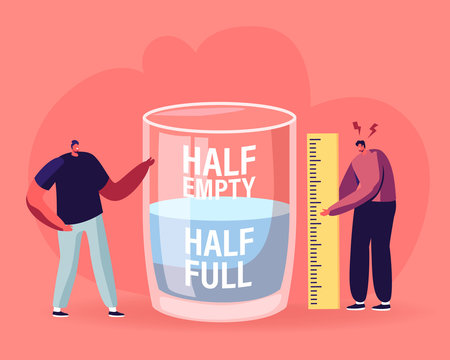 Optimist and Pessimist Concept. Couple of Male Characters Stand at Huge Water Glass Discussing if it is Half Full or Empty Positive and Negative Thinking Life Attitude Cartoon Flat Vector Illustration