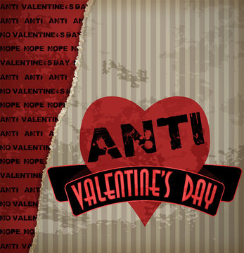 Anti valentine's day greeting  card, vector illustration