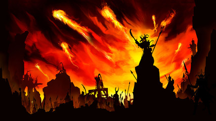Silhouettes of the army of darkness with spearmen, swordsmen, and catapults, led by the shaman's demon, giving the order to attack, against the background of a fiery sunset and fireballs flying forwar Wall mural