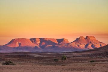 sunrise in Brandberg Mountain, Namib desert, Namibia, Africa wilderness