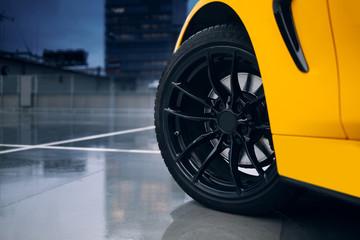 Front wheel of modern car. Braking system