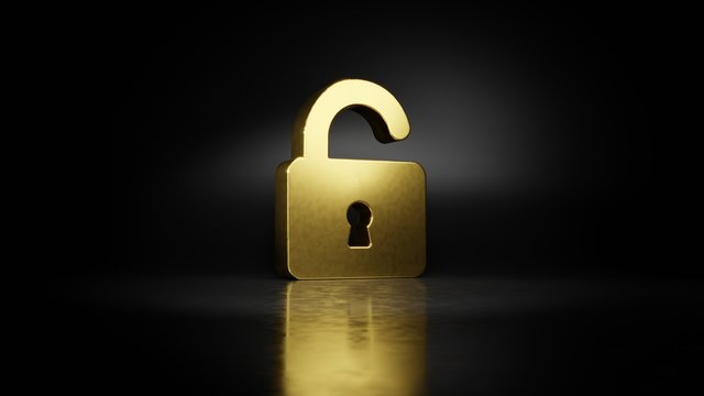 gold metal symbol of padlock 3D rendering with blurry reflection on floor with dark background