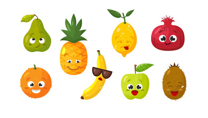 Vector set of cartoon images of various funny isolated fruits on a white background. Emotions, emojis, character.