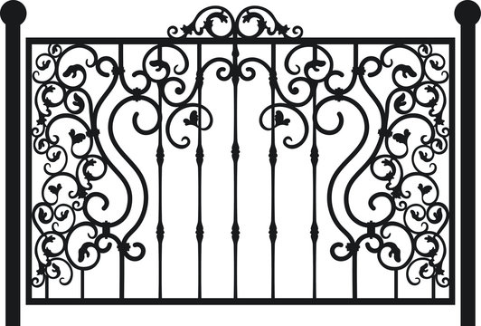 Steel railing panels that include balls, flowers, leaves and rosettes. Aluminum handrail, vector construction. Use these decorative iron cross bars to create a unique window guard or balcony railing.