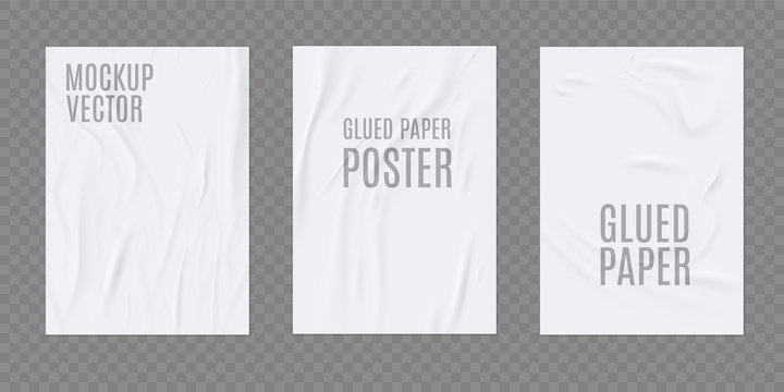 Wrinkled paper vector realistic template for poster or flyer glued to the wall. Vector set