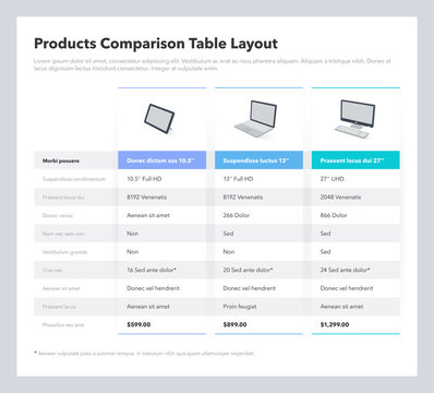 Products comparison table layout with place for description. Flat infographic design template for website or presentation.