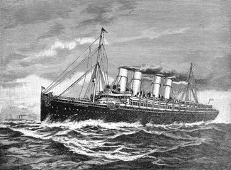 Double-screw steamer (steam ship) Germany 1900 to New York after the world war 1, Illustration from Brockhaus Konversations-Lexikon 1908
