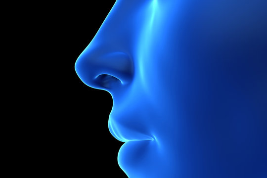3d rendered illustration of an abstrac blue female nose