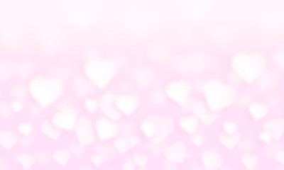 Pink gold, pink bokeh, hearts abstract light background, shining lights, sparkling glittering Valentines day,women day or event lights romantic backdrop.Blurred abstract holiday background.