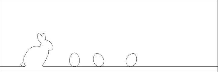Outline of easter rabbit and eggs.