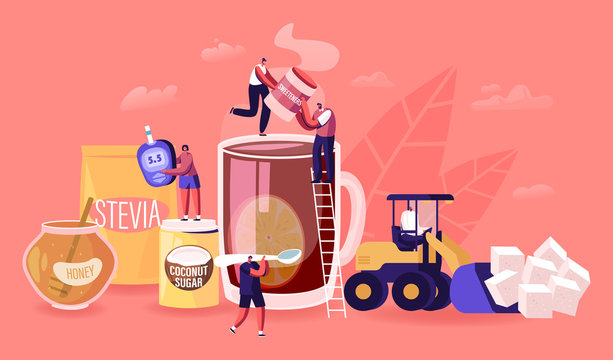 People Eating Natural Sweeteners Concept. Male and Female Characters Remove Sugar from Nutrition and Use Honey, Coconut Extract and Stevia Eco Production for Culinary Cartoon Flat Vector Illustration