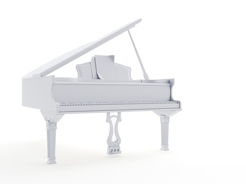 3d rendered object illustration of an abstract white grand piano