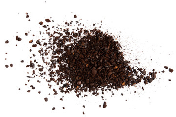 Foto op Plexiglas koffiebar Dark ground coffee bean burn crushed craked broken isolated on white background top view
