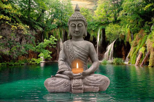 Buddha, silence and Waterfall