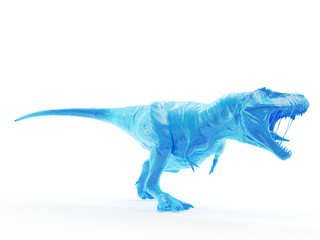 3d rendered object illustration of an abstract blue t-rex