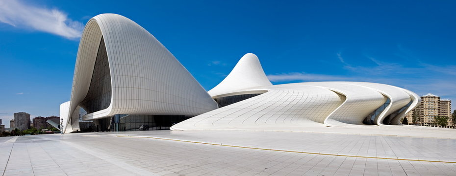 Very large panoramic view of Haydar Aliyev Centre designed by architect Zaha Hadid and won the Design Museum's Design of the 2014 Year Award