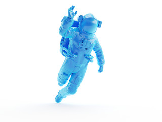 3d rendered object illustration of an abstract blue astronaut Papier Peint