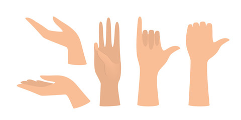 Wall Mural - Set of hands showing different gestures. Palm pointing at something