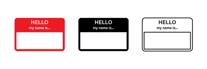 Hello my name is red vector sticker. Blank name tag. Sticker design. Red name tag.