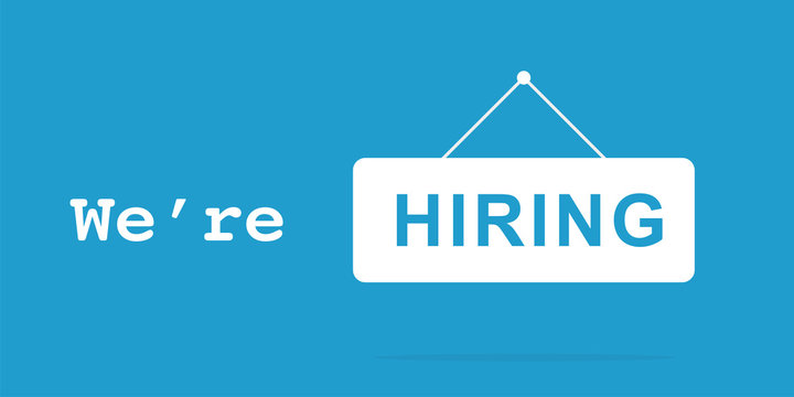 We're hiring signboard hanging on blue background. Isolated vector illustration. Hiring text banner concept. Business recruiting concept. Now hiring.