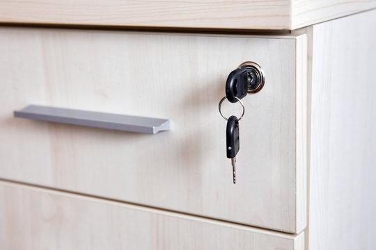 Key in office cabinet drawer lock
