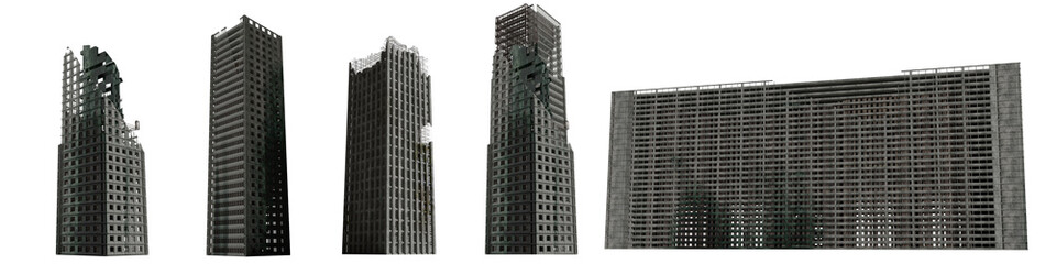 set of ruined skyscrapers, tall post apocalyptic buildings isolated on white background Fotobehang