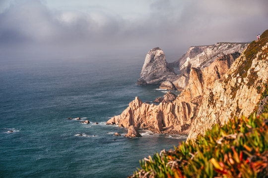 Portugal cabo da roca and Ursa beach location with stunning scenic view of cliff rocks at atlantic ocean coast line