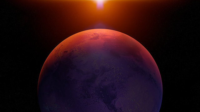 planet Mars, sunrise on the red planet