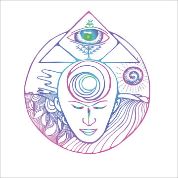 Color illustration of a meditating man, masonic triangle, eye and receding horizon.
