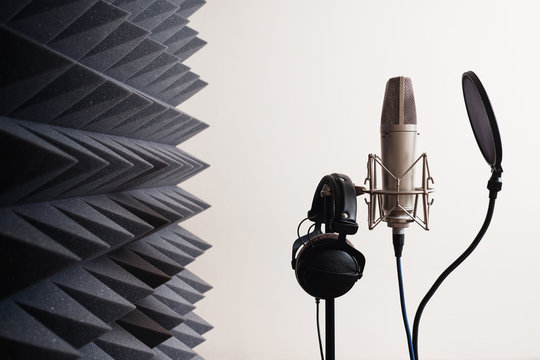 Recording studio equipment: microphone, acoustic foam, headphones