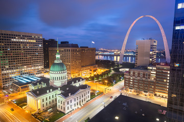 St. Louis, Missouri, USA Downtown Cityscape at Night
