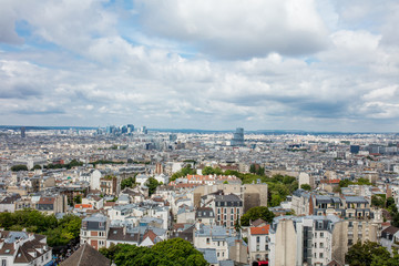 Landscape of Paris with a beautiful view from the top of the European historical quarters of the city