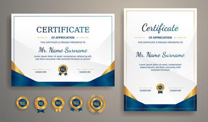 Blue and gold certificate of achievement template with gold badge and border