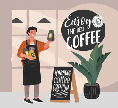 Coffee shop hand drawn collection . Cartoon man barista character standing next to stand with handwritten quote, near entrance to cafe and sells packaged coffee. Vector
