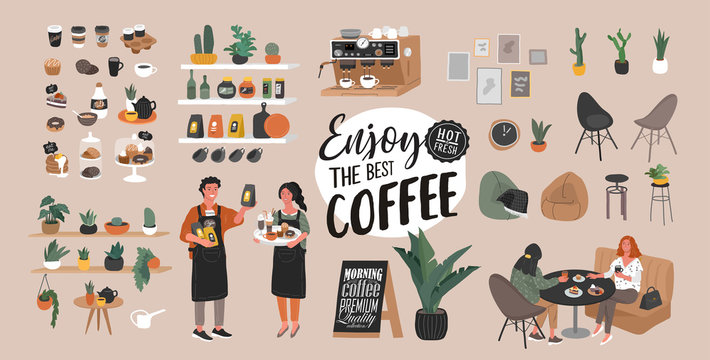 Coffee shop hand drawn collection . Cartoon constructor set. Small business, houseplant and interior decoration, logo lettering and quote, barista character, coffee pots