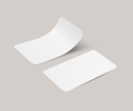 Vector white realistic paper adhesive stickers with curved corner in perspective on transparent background.