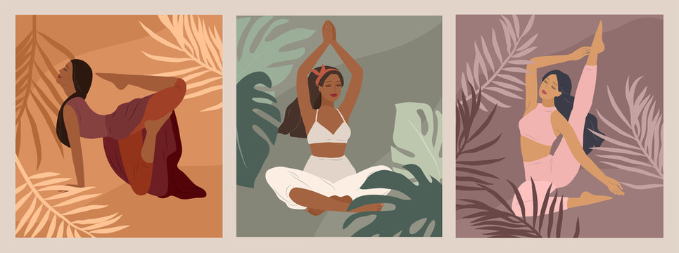 Feminine concept. Cute girl doing yoga poses. Lifestyle by young woman. Fashion illustration by femininity, beauty and mental health. Vector cartoon illustration