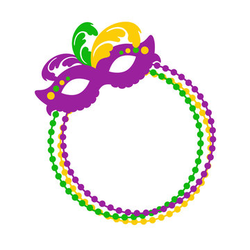 Mardi Gras svg Monogram ring Mask and Beads clipart Fat Tuesday New Orleans shirt design Carnival decor