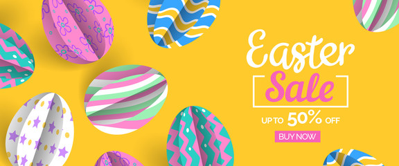 happy easter sale web banner design with paper cut decorative eggs on yellow background