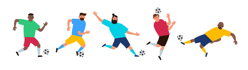 football soccer players with ball vector illustration