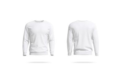 Blank white unisex sweatshirt mockup, front and back view